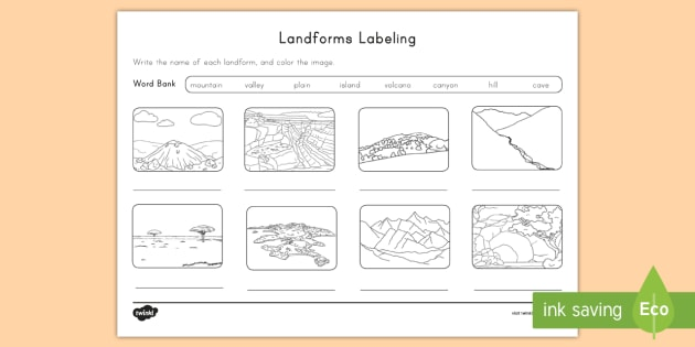 Landform Labeling Activity Sheet