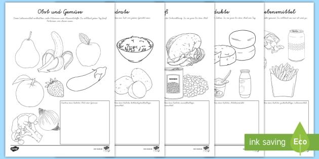 Gesunde Ernährung Ausmalbilder (teacher made)