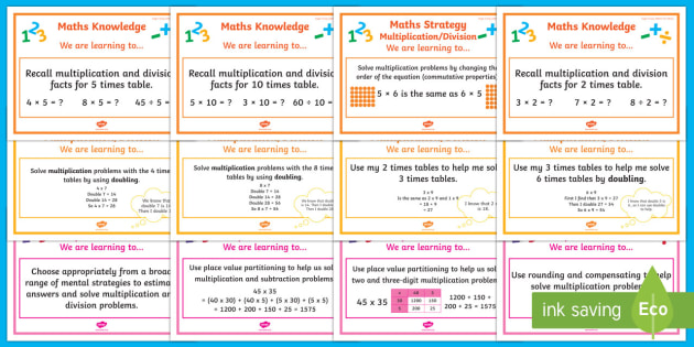 Multiplication And Division WALT Cards Stages 5 7