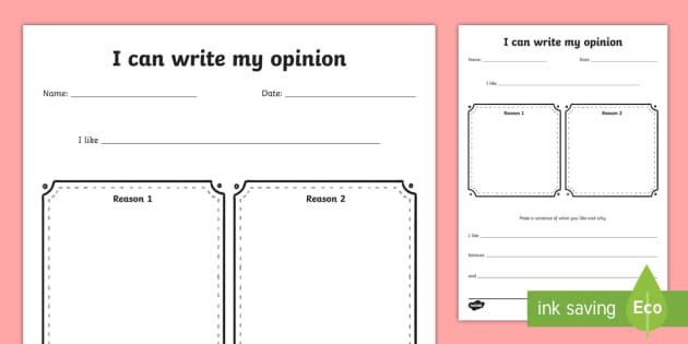 Opinion Worksheet