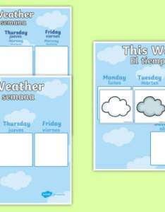 Weekly weather recording chart display poster english spanish calendar also rh twinkl