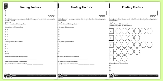 Finding Factors Worksheet / Activity Sheets