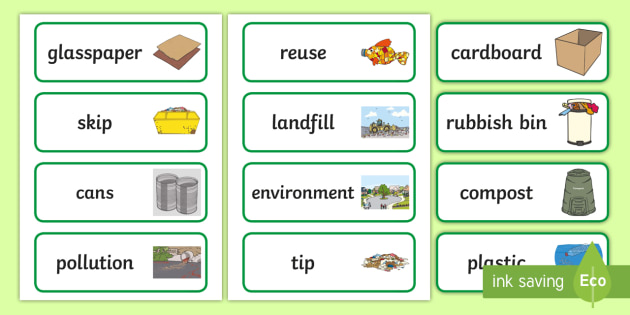 * New * Recycling Word Cards  Achassk033, Year 1, 2, Local