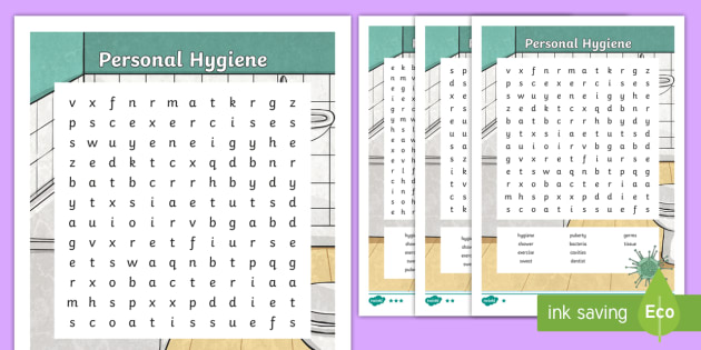 Personal Hygiene Word Search Teacher Made