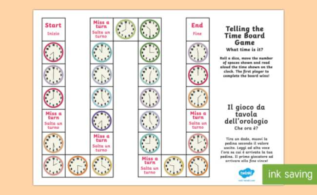 Telling The Time Italian Translation Board Game Spanish