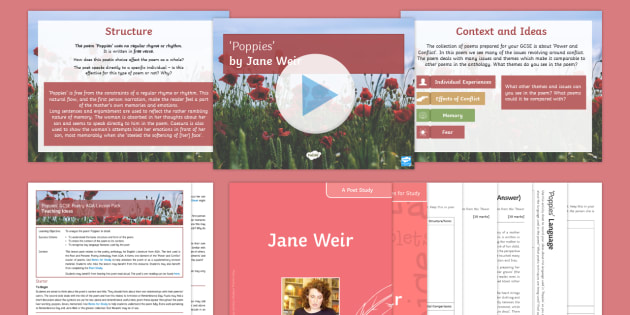 GCSE Poetry Lesson to Support Teaching on Poppies by Jane Weir