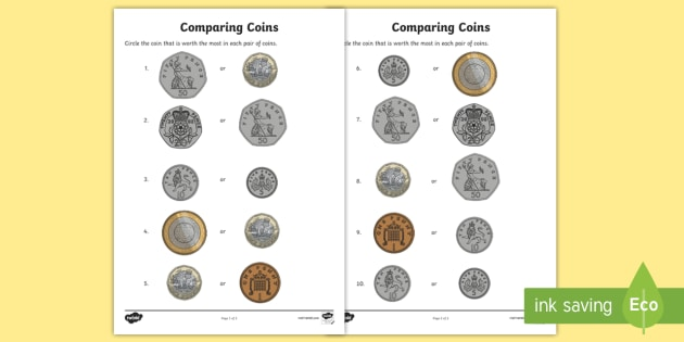 Comparing Coins Worksheet Worksheets Currency