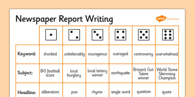 Newspaper Report Writing Dice Activity Writing Aid Template