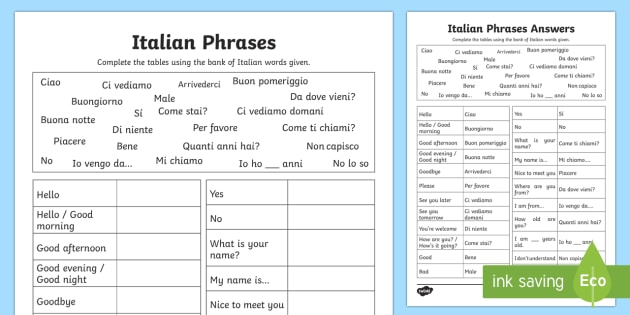 Italian Common Phrases Table Worksheet / Activity Sheet