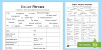 Italian Common Phrases Table Worksheet / Activity Sheet