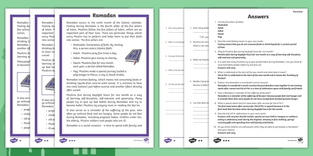 Ramadan Differentiated Comprehension Challenge Sheet