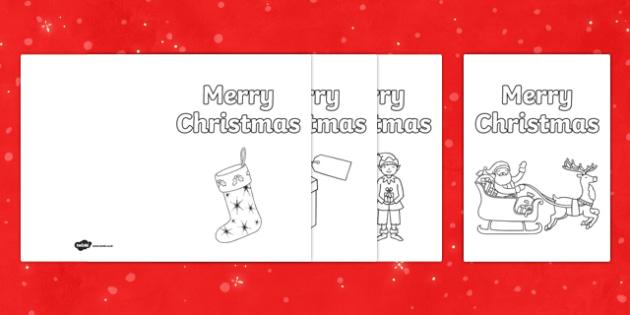 Colour In Christmas Cards Christmas Xmas Happy Christmas