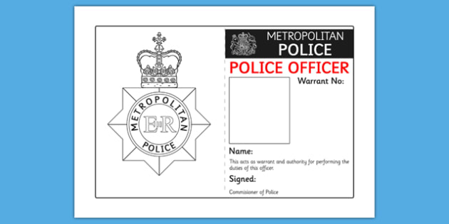 Who says id badges should be boring? Police Identity Badge Role Play Template