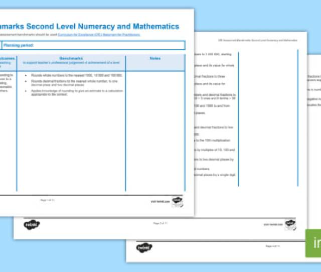 Cfe Benchmarks Second Level Numeracy And Mathematics Assessment Tracker Scottish