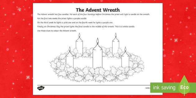 Advent Wreath Colouring Worksheet Activity Sheet Irish
