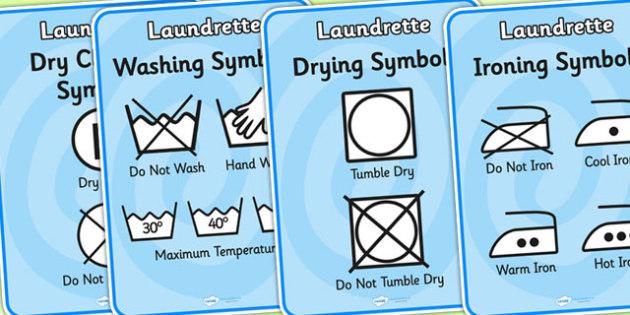 washing symbol display posters