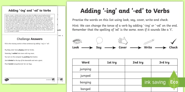 Year 1 Spelling Practice Adding ing and ed to Verbs Homework Worksheet