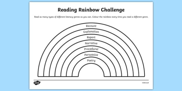 Reading Rainbow Challenge Worksheet Worksheet Worksheet