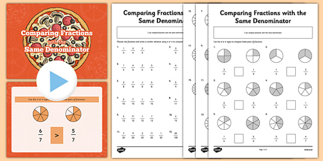 Comparing Fractions With The Same Denominator Powerpoint