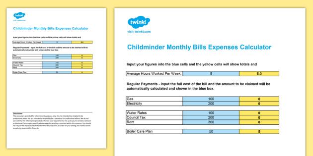 Childminder Monthly Bills Expenses Calculator Spreadsheet