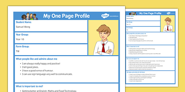 One Page Profile SaveEnlarge