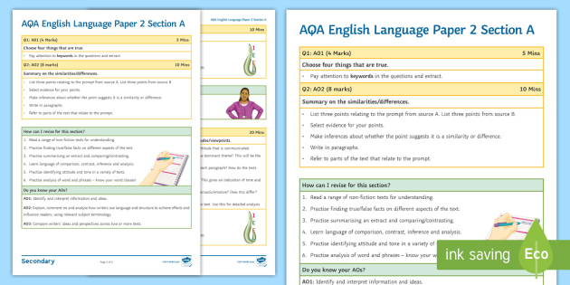 AQA English Language Paper 2 Section A: Hints and Tips