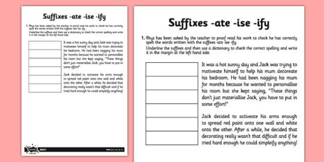 Suffixes Ate Ise Ify Application Worksheet Worksheet