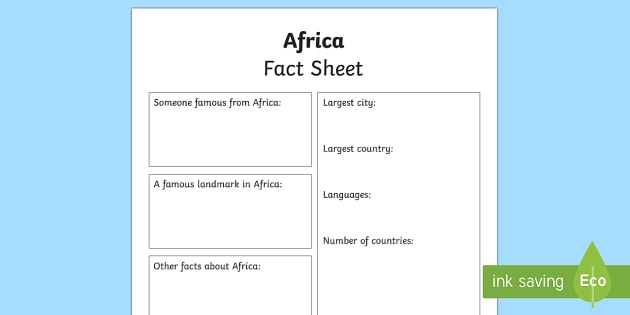 Africa Factsheet Writing Template - africa, africa fact sheet