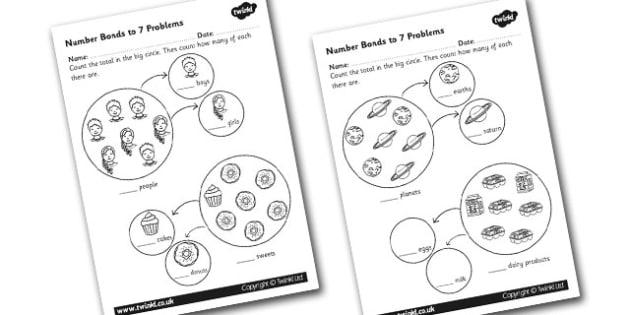 Number Bonds to 7 Problems Worksheet (teacher made)