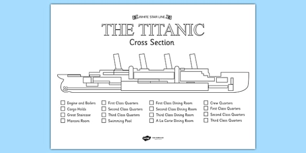 titanic boat diagram bathtub drum trap drain the cross section colour labelling worksheet - titanic, history