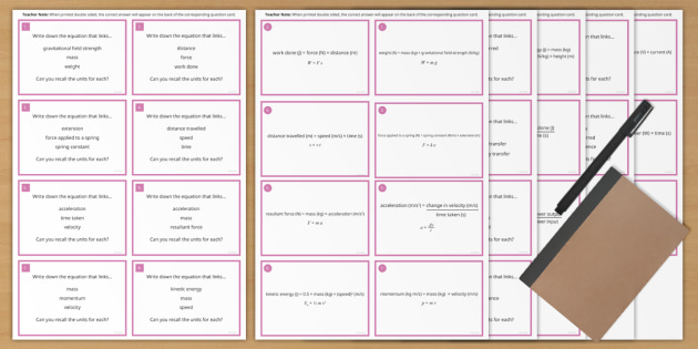 Physics Paper 1 Revision: AQA Combined Science Physics Equation Flashcards