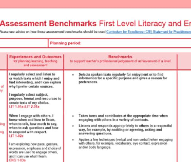 Cfe Benchmarks First Level Literacy And English Assessment Tracker Scottish