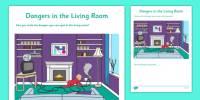 Dangers in the Living Room Worksheet / Activity Sheet - CfE