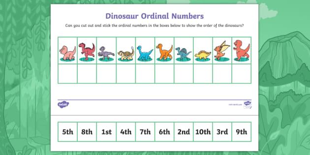 * New * Hideasaurus Ordinal Numbers Cut And Stick Worksheet