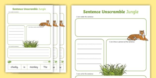 Jungle Sentence Unscramble Worksheets Teacher Made