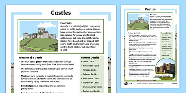 Castles Differentiated Fact File