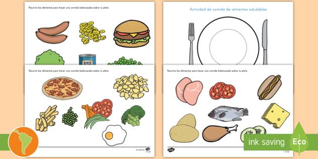 Ficha de actividad Comida saludable  Frutas comida