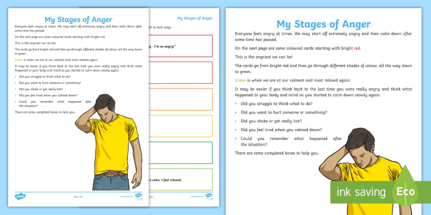 My Stages Of Anger Worksheet Worksheet