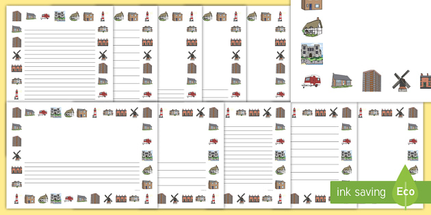 Houses and Homes Page Borders  house home building