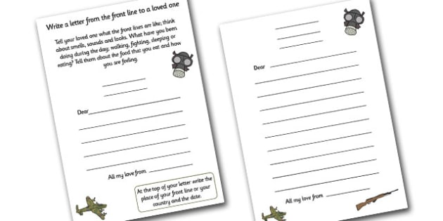 World War Two Letters from the Front Line Writing Templates