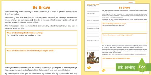 * New * Be Brave Worksheet