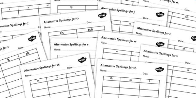 Alternative Spellings for Phonemes Table Worksheet Pack