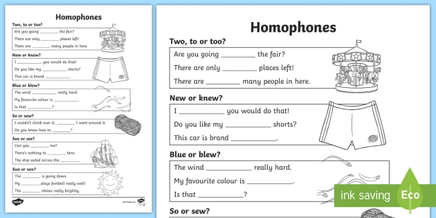 Ks2 Homophones Worksheet
