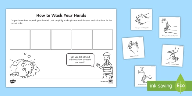Eyfs Washing Your Hands Sequencing Worksheet Teacher Made