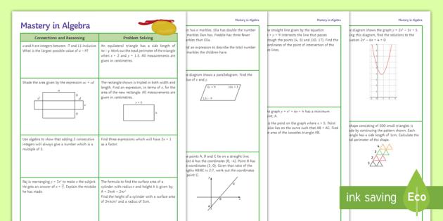 Mastery: KS3 Algebra Questions - KS3 Maths