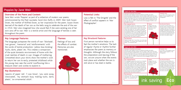 Poppies Revision Sheet
