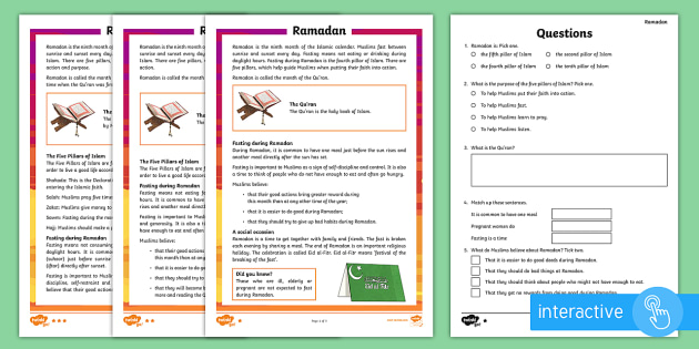 Ramadan Ks2 Differentiated Comprehension Worksheets
