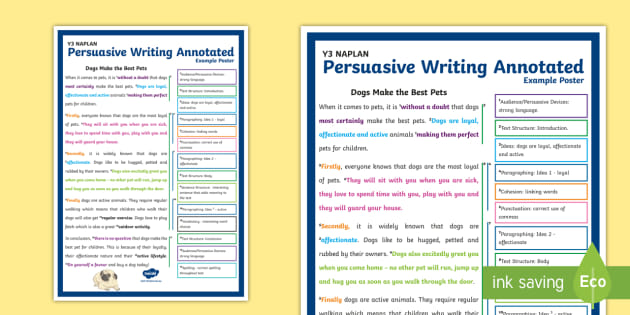 * New * Y3 Naplan Persuasive Writing Annotated Example Poster