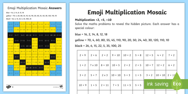 2 5 And 10 Multiplication Mosaic Worksheet Worksheet