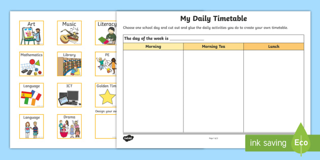 Foundation My Daily Timetable Worksheet Worksheet